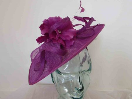 Sinamay hatinator with double feathered flower in grape purple