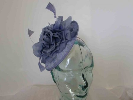 Mini fascinator with lace base in sky blue