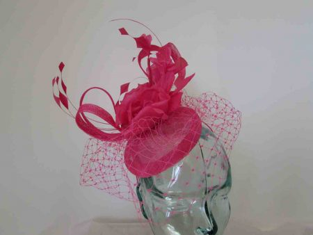 Pillbox fascinator with netting and flowers in hot pink