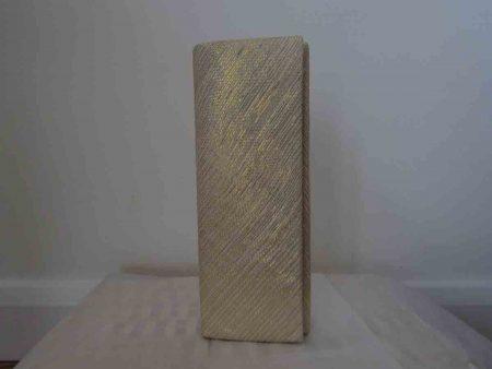 Sinamay clutch bag in metallic gold