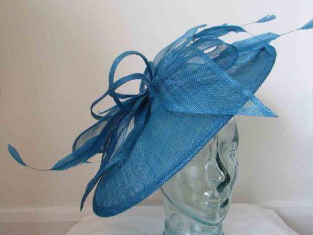 Large sinamay hatinator azure blue