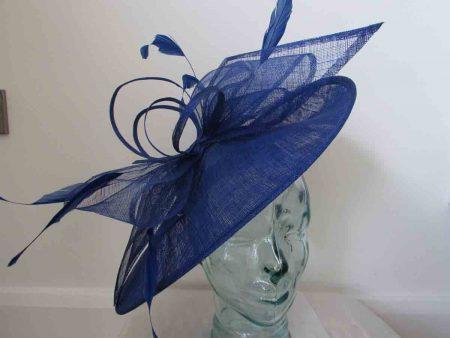 Large sinamay hatinator Flo sapphire blue