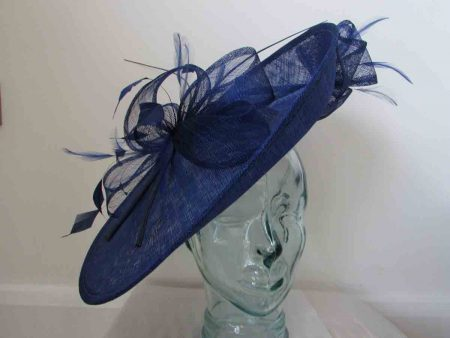 Large sinamay hatinator in sapphire blue