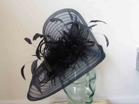 Pleated crin fascinator with feathers in navy