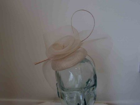 Crin pillbox fascinator in champagne