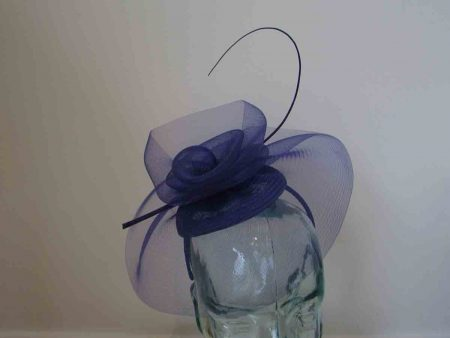 Crin pillbox fascinator in marine blue