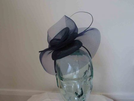 Crin pillbox fascinator in navy