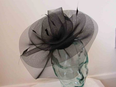 Crin swirl fascinator in black