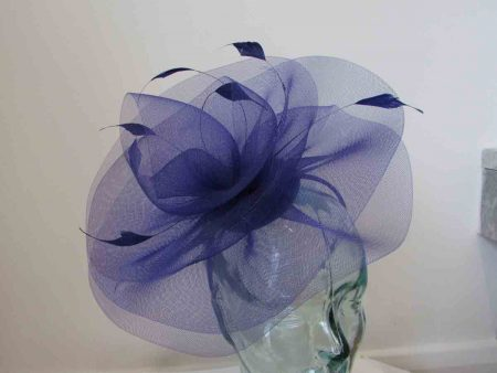 Crin swirl fascinator in marine blue