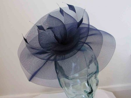 Crin swirl fascinator in navy