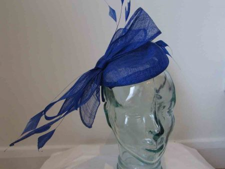 Sinamay pillbox fascinator with bow in cobalt blue