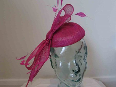 Sinamay pillbox fascinator with bow in magenta pink