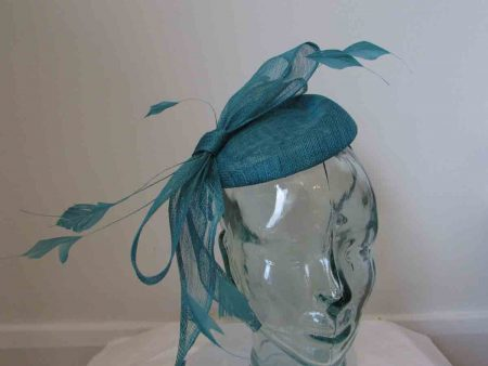 Sinamay pillbox fascinator with bow in metallic almond
