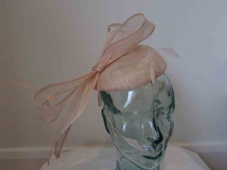 Sinamay pillbox fascinator with bow in metallic oyster