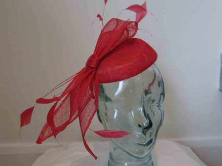 Sinamay pillbox fascinator with bow in tulip red