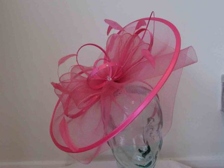 Crin fascinator with diamante in raspberry pink