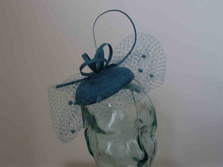Pillbox  fascinator with netted detail in azure blue