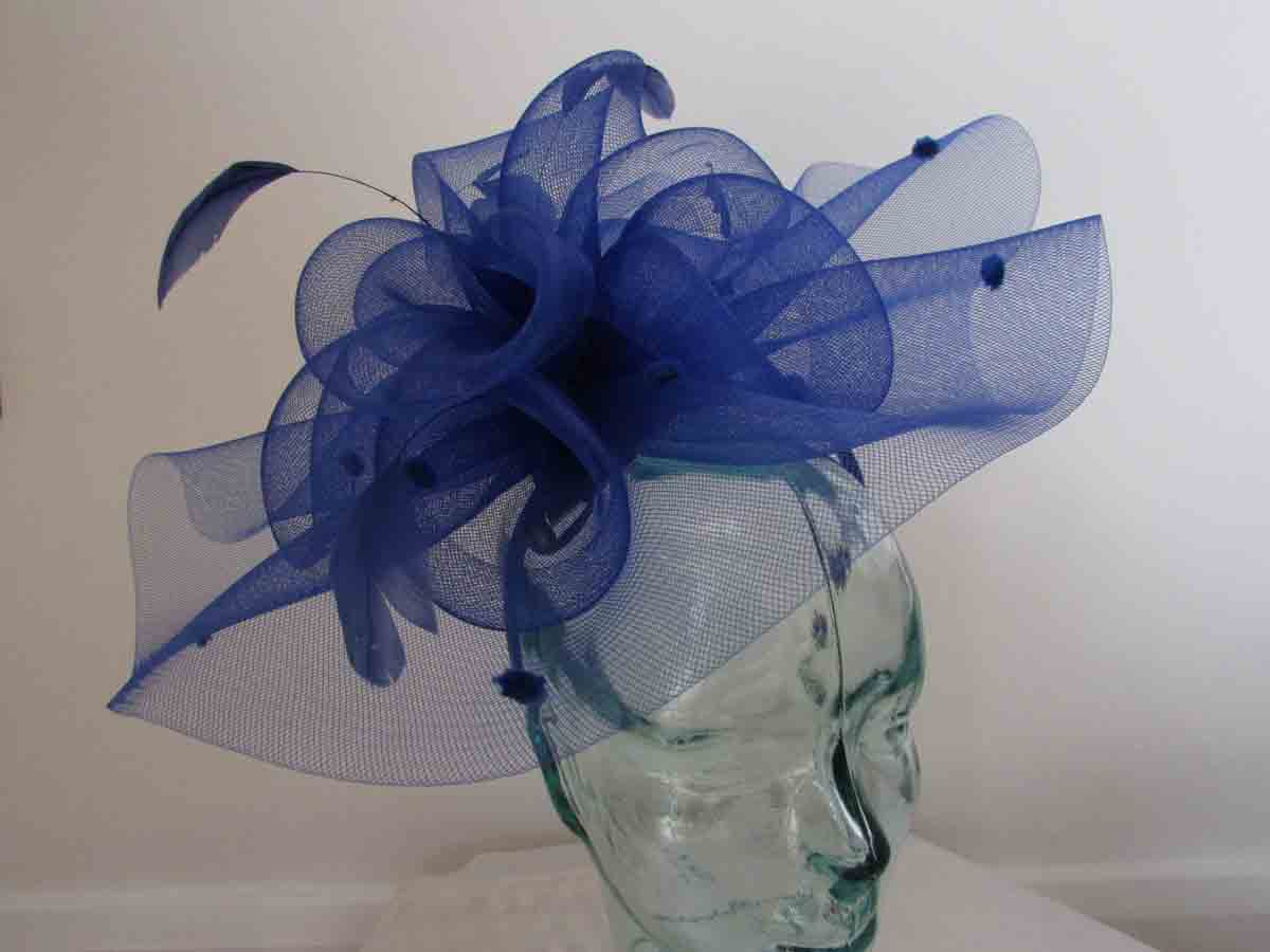 6d662712 Product Description. Simanay fascinator with double quill in new bluebell  £45.00. Curicular hatinator with feathered flower in cobalt blue ...