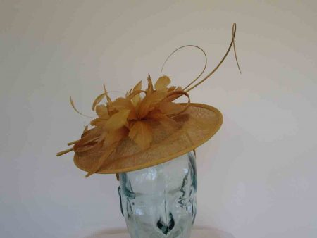 Curicular hatinator with feathered flower in mustard