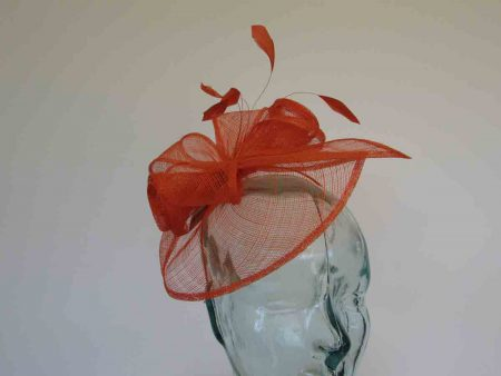Sinamay looped fascinator orange