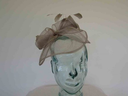 Sinamay looped fascinator taupe