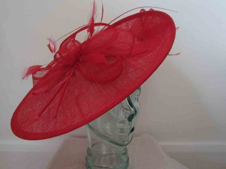 Large sinamay hatinator in poppy red