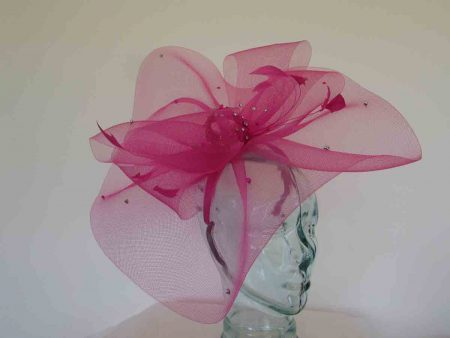 Crin fascinator with diamante in magenta