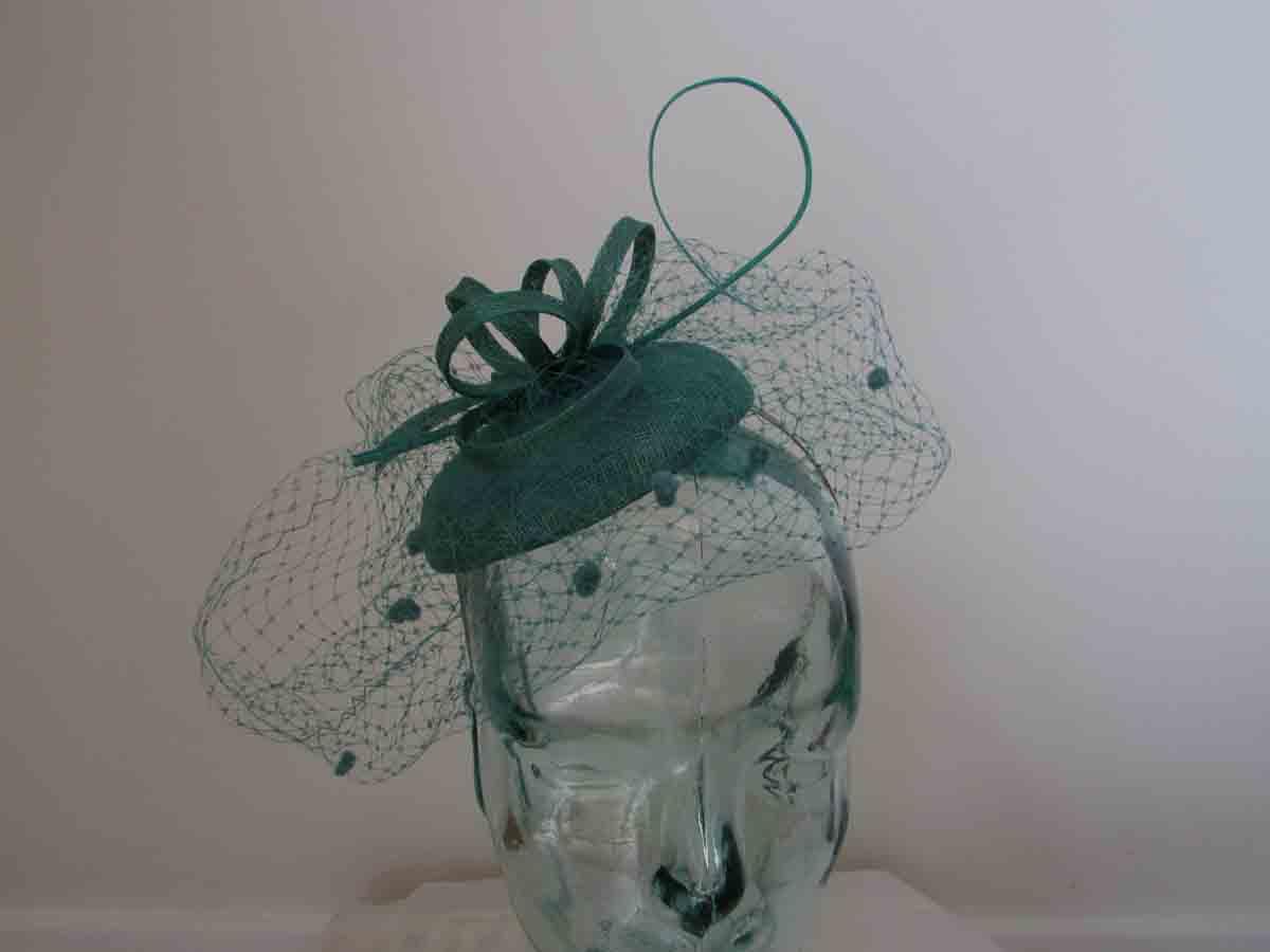 baa411054ffaa Pillbox fascinator with netted detail in jade green - Love Fascinators