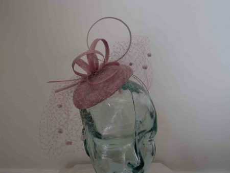 Pillbox  fascinator with netted detail in lilac