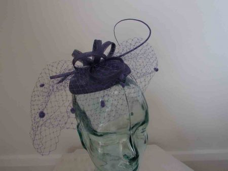 Pillbox  fascinator with netted detail in wisteria