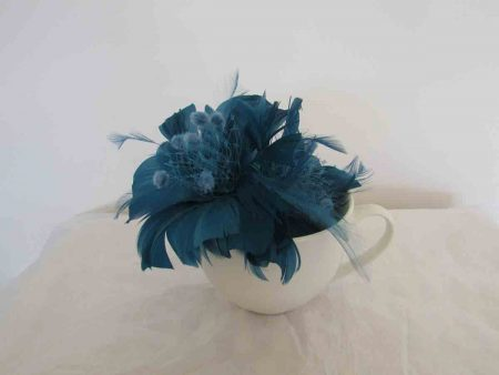 Feathered fascinator in petrol