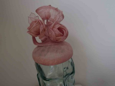 Pillbox fascinator with sinamay flower detail in candy pink