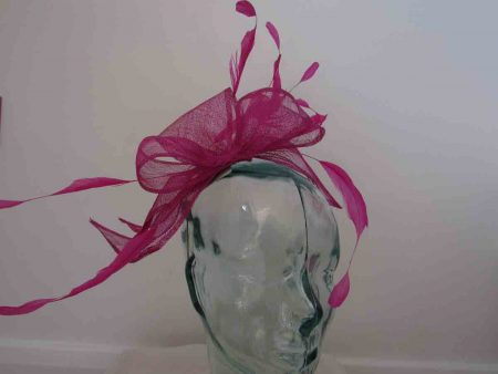 Sinamay looped fascinator in fushcia pink