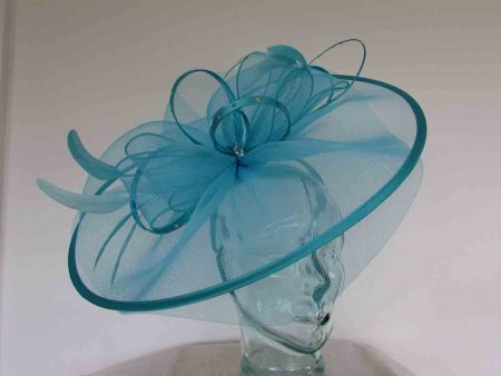 Crin fascinator with diamante in baby blue