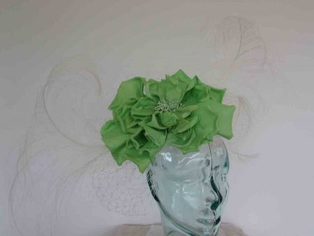 Large feather fascinator with rose in ivory and lime