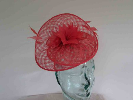 Disc fascinator in tangerine