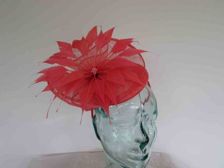 Pillbox fascinator with flower in tangerine
