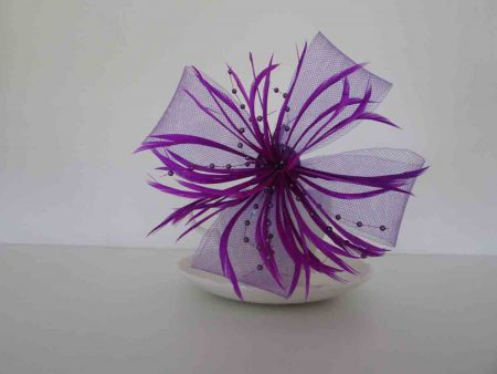 Large looped fascinator bright purple