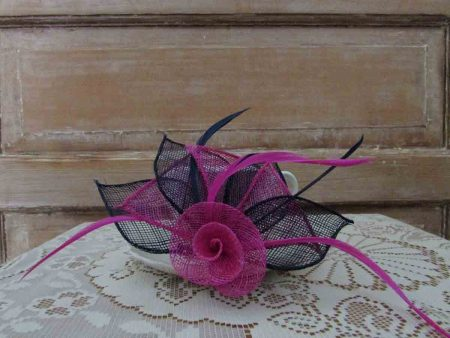 Two tone flower fascinator navy and pink