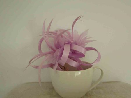 Feather flower fascinator new lilac