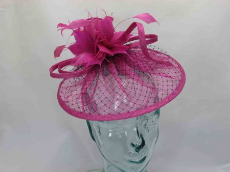 Sinamay fascinator with black netted detail in magenta