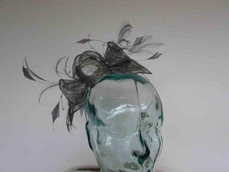 Double flower fascinator in granite grey