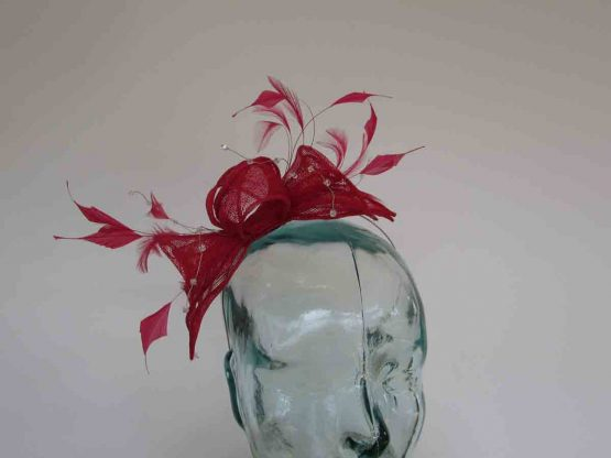 Double flower fascinator in rouge red