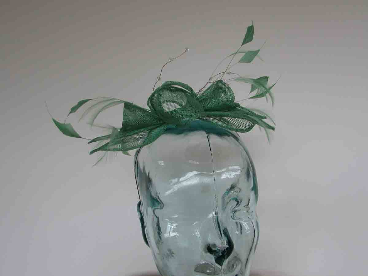 Double flower fascinator in summer green