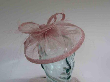 Triple circular fascinator in candy pink