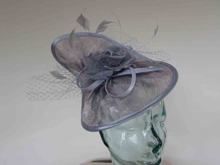 Twisted sinamay fascinator in lavender