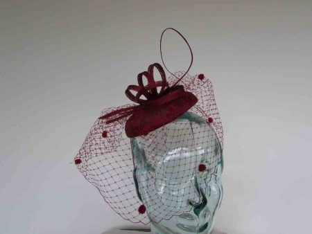 Pillbox  fascinator with netted detail in burgandy