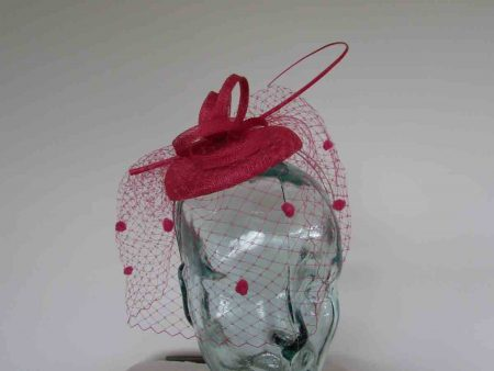 Pillbox  fascinator with netted detail in cerise pink