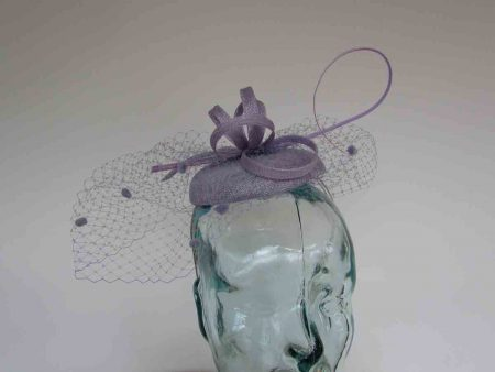 Pillbox  fascinator with netted detail in sweet lavender