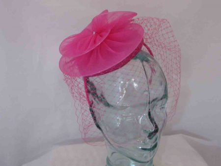 Pillbox fascinator with chiffon flower in magenta pink